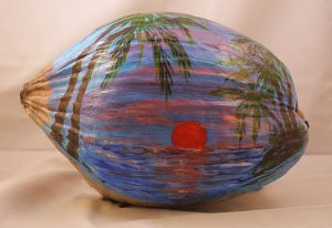 Blue Sunset Painted Coconut