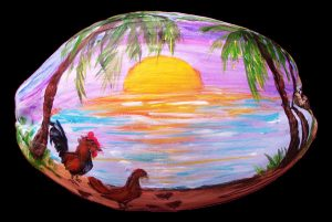Key West Chickens Painted Coconut