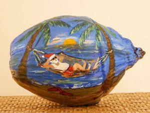 Santa in Hammock Painted Coconut