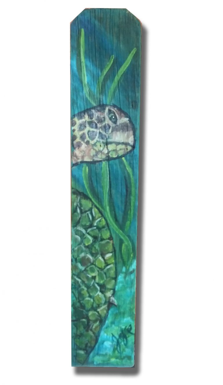 Turtle Grass Fence Slat Wall Hanging