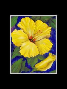 Yellow Hibiscus with Bud Art Print