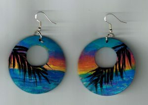 Sunset Palm Painted Earrings