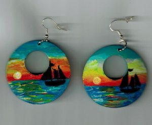 Sunset Sail Painted Earrings