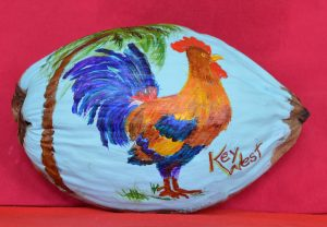 Key West Rooster Painted Coconut