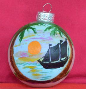 Sailboat Sunset Christmas Ornament