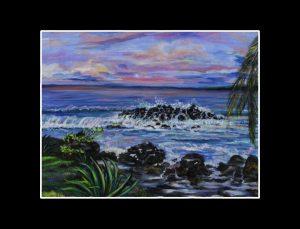 Florida Keys Rocky Beach Matted Print