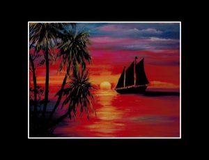 Sunset Schooner Matted Print